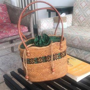Vintage Pine Needle Basket Purse w/Leather Straps!